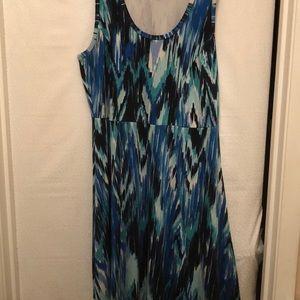 Karen Kane blue abstract striped dress 👗